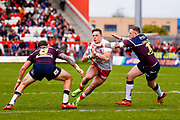 Hull Kingston Rovers interchange James Donaldson (15) suffers a high tackle during the Betfred Super League match between Hull Kingston Rovers and Leeds Rhinos at the Lightstream Stadium, Hull, United Kingdom on 29 April 2018. Picture by Simon Davies.