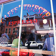Caffe Trieste; North Beach; San Francisco, CA; Window Gives View Of Patrons Inside And Reflection Of Neighborhood Outside