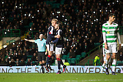 Dundee&rsquo;s Marcus Haber is congratulated by Mark O&rsquo;Hara after scoring - Celtic v Dundee in the Ladbrokes Scottish Premiership at Celtic Park, Glasgow. Photo: David Young<br /> <br />  - &copy; David Young - www.davidyoungphoto.co.uk - email: davidyoungphoto@gmail.com