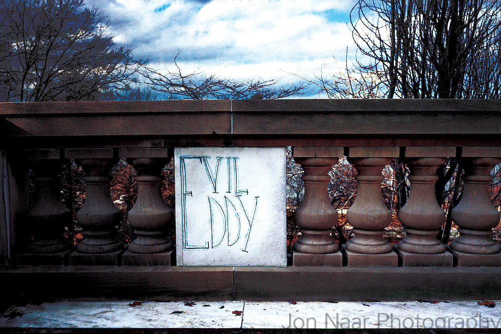 Name tagged on stone balustrade in Riverside Park.   Taken with a Leica M4 on Kodachrome film. First published in Faith of Graffiti (1974).