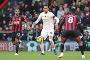 Manchester United Defender Chris Smalling takes on Jefferson Lerma (8) of AFC Bournemouth during the Premier League match between Bournemouth and Manchester United at the Vitality Stadium, Bournemouth, England on 3 November 2018.