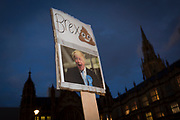 While MPs debate the Brexit Withdrawal Bill and ultimately vote in the House of Commons, a parody of leading Brexiteer Boris Johnson has been fixed to a post outside Parliament, on 13th December 2017 in London, England.