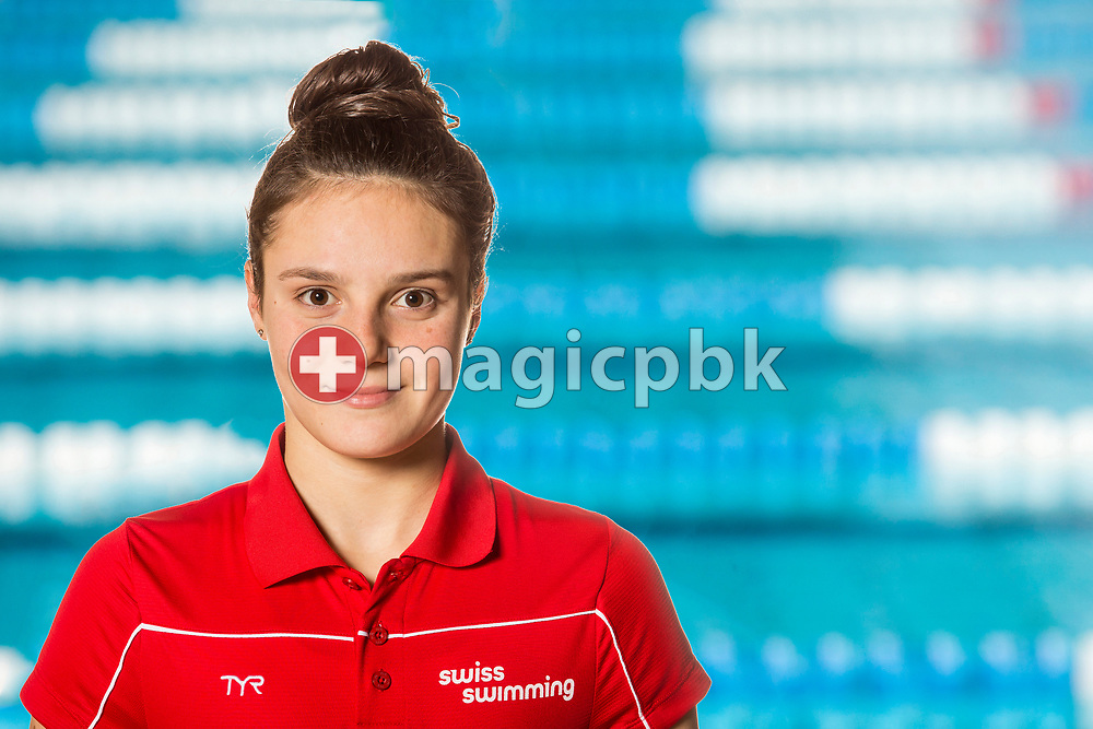 Swimmer Elena ONIEVA HENRICH of SUI poses for a portrait photo during the Swiss Swimming Championships at the Piscine des Vernets in Geneva, Switzerland, Saturday, March 25, 2017. (Photo by Patrick B. Kraemer / MAGICPBK)