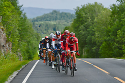August 11, 2016 - Rognan, Norway - Norway's Sven Eric Bystrom from Team Katiusha leads the peloton of riders during the opening stage of the Arctic Race of Norway from Bodo to Rognan..On Thursday, 11 August 2016, in Rognan, Norway. (Credit Image: © Artur Widak/NurPhoto via ZUMA Press)