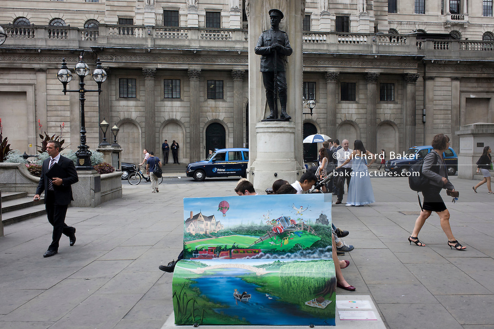 A Bench depicting a scene from The Wind in the Wiillows by Kenneth Graham with the Bank of England and the WW1 memorial at Cornhill, City of London. Scottish-born Graham (1859-1932) was a city worker at the Bank of England, retiring as its Secretary in 1908 due to ill health, before writing one of the most loved pieces of English fiction about Thames river bank wildlife characters. BookBench is part of a trail of 50 uniquely designed benches around London, connecting literary locations. The benches will be auctioned off to raise funds for the National Literacy Trust, helping to raise literacy levels in the UK.
