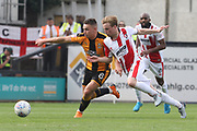 Billy Waters and Joe Morrell during the EFL Sky Bet League 2 match between Cambridge United and Cheltenham Town at the Cambs Glass Stadium, Cambridge, England on 21 April 2018. Picture by Antony Thompson.