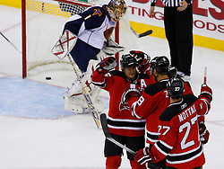 Nov 1, 2008; Newark, NJ, USA; The New Jersey Devils celebrate a goal by New Jersey Devils right wing Brian Gionta (14) during the second period at the Prudential Center.