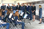 "Koningin Maxima bezoekt muziekproject 'Young Musicians Spread Their Wings'  voor jeugd van Koninklijke Luchtmach op vliegbasis Eindhoven. <br /> <br /> Queen Maxima visits musical project ""Young Musicians Spread Their Wings' youth of Royal Air Mach at Eindhoven Air Base.<br /> <br /> Op de foto / On the photo:  Koning Maxima bij een workshop 'fluiten' in DC-10 transportvliegtuig / King Maxima at a workshop 'whistle' in DC-10 transport aircraft"