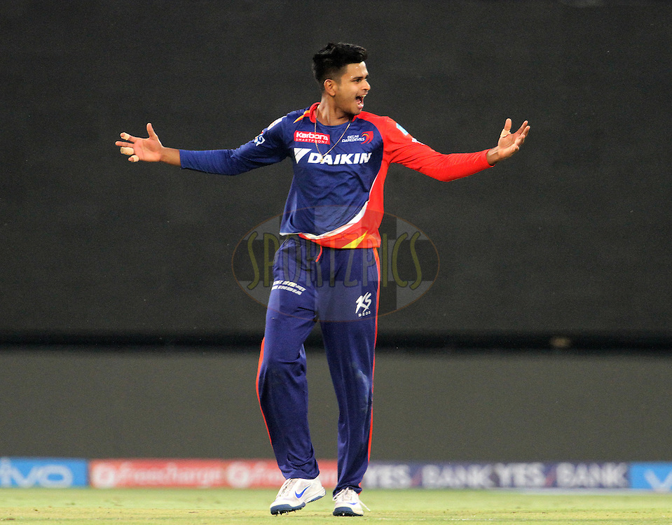 Delhi Daredevils player Shreyas Iyer celebrates after taking the catch of Kolkata Knight Riders player Suryakumar Yadav during match 24 of the Vivo Indian Premier League ( IPL ) 2016 between the Mumbai Indians and the Kolkata Knight Riders held at the Wankhede Stadium in Mumbai on the 28th April 2016<br /> <br /> Photo by Vipin Pawar / IPL/ SPORTZPICS