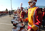 September 10, 2011: The Iowa State Marching Band plays as they wait for the team to arrive before the game between the Iowa Hawkeyes and the Iowa State Cyclones during the Iowa Corn Growers Cy-Hawk game at Jack Trice Stadium in Ames, Iowa on Saturday, September 10, 2011.