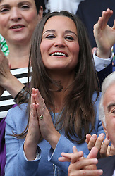 Pippa Middleton in the Centre Court on the opening day of Wimbledon 2013<br /> London, Monday, 24th June 2013<br /> Picture by Stephen Lock / i-Images