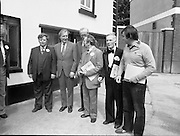 Taoiseach's Election Campaign.      (N77)..1981..23.05.1981..05.23.1981..23rd May 1981..On the 21st May the Taoiseach, Mr Charles Haughey, dissolved the Dáil and called a general election. Charles Haughey, Garret Fitzgerald and Frank Cluskey were leading their respective parties into a general election for the first time as they had only taken party leadership during the last Dáil..Fianna Fáil had hoped to call the election earlier, but the Stardust Tragedy caused the decision to be deferred...Charles Haughey meets and greets supporters in Lucan, Co Dublin.