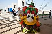 Foody, a smiling face made up of different kinds of fruits and vegetables, is the mascot of Expo Milano 2015, here after his participation at Groundbreaking Ceremony of USA Pavilion Expo Milano 2015, Rho-Pero, (Milan), July 16, 2015. &copy; Carlo Cerchioli<br /> <br /> Foody, una faccia sorridente composta da diveri tipi di frutta e ortaggi, &egrave; la mascotte di Expo Milano 2015, qui &egrave; ripresa dopo la sua partecipazione alla cerimonia della posa della prima pietra del padiglione USA all'Expo, Rho-Pero (Milano), 16 luglio 2014.
