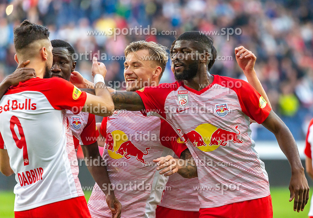 31.03.2019, Red Bull Arena, Salzburg, AUT, 1. FBL, FC Red Bull Salzburg vs FK Austria Wien, Meistergruppe, 23. Spieltag, im Bild Munas Dabbur (FC Red Bull Salzburg), Diadie Samassekou (FC Red Bull Salzburg), Fredrik Gulbrandsen (FC Red Bull Salzburg), Jerome Onguene (FC Red Bull Salzburg) // during the tipico Bundesliga Master group, 23th round match between FC Red Bull Salzburg and FK Austria Wien at the Red Bull Arena in Salzburg, Austria on 2019/03/31. EXPA Pictures © 2019, PhotoCredit: EXPA/ Stefanie Oberhauser