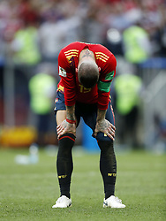 Sergio Ramos of Spain during the 2018 FIFA World Cup Russia round of 16 match between Spain and Russia at the Luzhniki Stadium on July 01, 2018 in Moscow, Russia