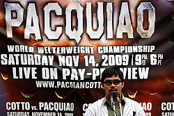 September 10, 2009; Bronx, NY; USA; Manny Pacquiao speaks at the press conference at Yankee Stadium announcing November 14, 2009 fight against Miguel Cotto.  The two will meet at the MGM Grand Garden Arena in Las Vegas, NV.