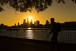© Licensed to London News Pictures. 05/10/2016. LONDON, UK.  A man walks on the River Thames path as the sun rises behind Canary Wharf and London's financial district this morning. Forecasters are predicting a day of clear and sunny weather in London today.  Photo credit: Vickie Flores/LNP