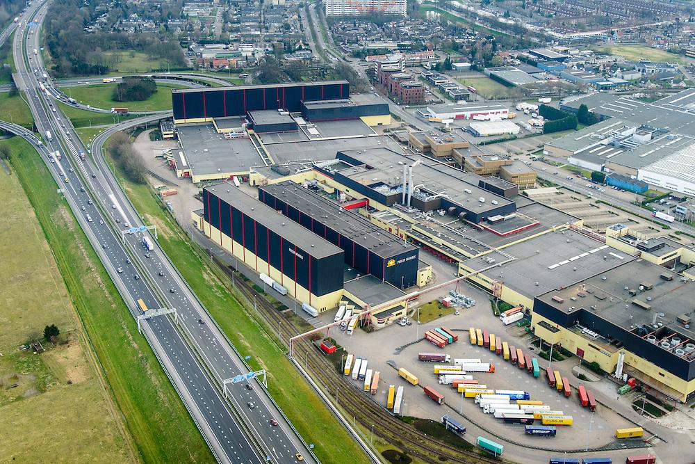 Nederland, Noord-Brabant, Bergen op Zoom, 01-04-2016; de inmiddels gesloten sigarettenfabriek van Philip Morris<br /> The now closed cigarette factory of Philip Morris.<br /> <br /> luchtfoto (toeslag op standard tarieven);<br /> aerial photo (additional fee required);<br /> copyright foto/photo Siebe Swart