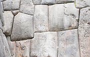 Stone wall built by the Inca at Sacsayhuaman, Cusco, Peru.