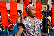 A man in the Tenjin Festival (Tenjin Matsuri) in Osaka.
