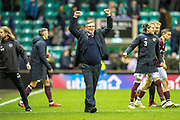 Craig Levein, manager of Heart of Midlothian salutes the fans at the final whistle of the Ladbrokes Scottish Premiership match between Hibernian FC and Heart of Midlothian FC at Easter Road Stadium, Edinburgh, Scotland on 29 December 2018.