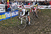 Friday 1 November 2013: Sven Nys, the current World Cyclocross Champion, is followed by Jim Aernouts (#14), Martin Bina (#22), Tom Meeusen (#11) and Kevin Pauwels (#4) during the Koppenbergcross 2013 elite men's race. Copyright 2013 Peter Horrell