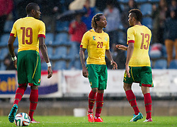 29.05.2014, Kufstein Arena, Kufstein, AUT, FIFA WM, Testspiel, Kamerun vs Paraguay, im Bild v.l.: Idrissou Mohammadou (Kamerun), Mbong Gaetan (Kamerun), Choupo Mouting (Kamerun) // v.l.: Idrissou Mohammadou (Kamerun), Mbong Gaetan (Kamerun), Choupo Mouting (Kamerun) during friendly match between Cameroon and Paraguay for Preparation of the FIFA Worldcup Brasil 2014 at the Kufstein Arena in Kufstein, Austria on 2014/05/29. EXPA Pictures © 2014, PhotoCredit: EXPA/ JFK