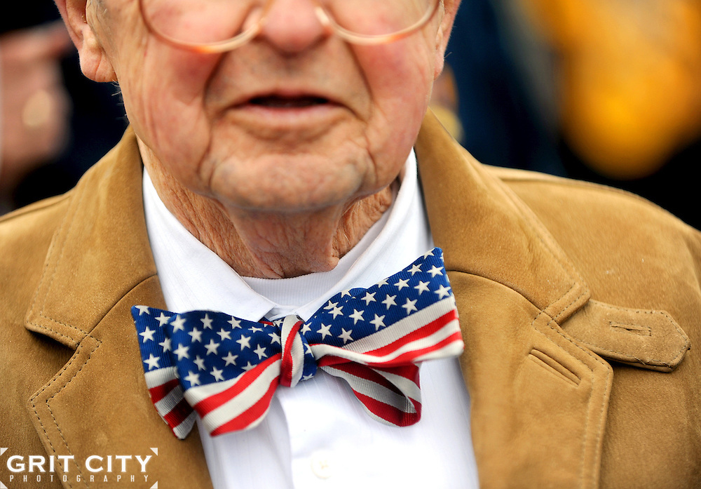 Joseph Illes, a retired Soldier, sports a patriotic rented bow tie May 21 during the Armed Forces Day celebration on JBLM.