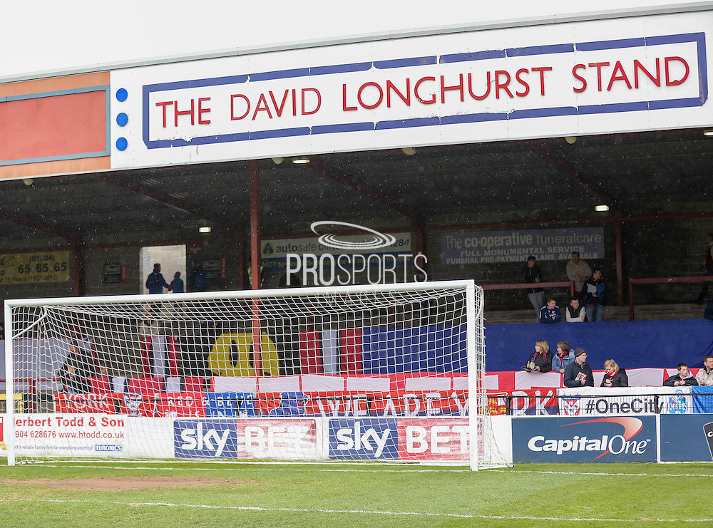 The rain falls down over the David Longhirst stand  during the Sky Bet League 2 match between York City and Cheltenham Town at Bootham Crescent, York, England on 3 April 2015. Photo by Simon Davies.