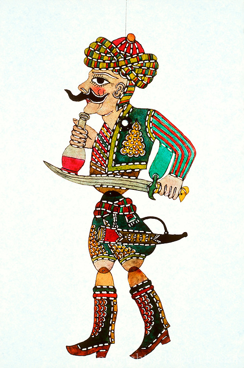 TURKEY, TURKISH CULTURE KARAGOZ; the traditional Turkish shadow puppet theatre; Matiz is the drunkard puppet character with sword and wine