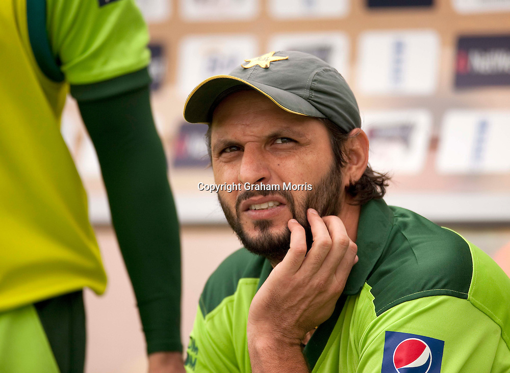 Captain Shahid Afridi watches the first T20 international between England and Pakistan in Cardiff.  Photo: Graham Morris (Tel: +44(0)20 8969 4192 Email: sales@cricketpix.com) 05/09/10