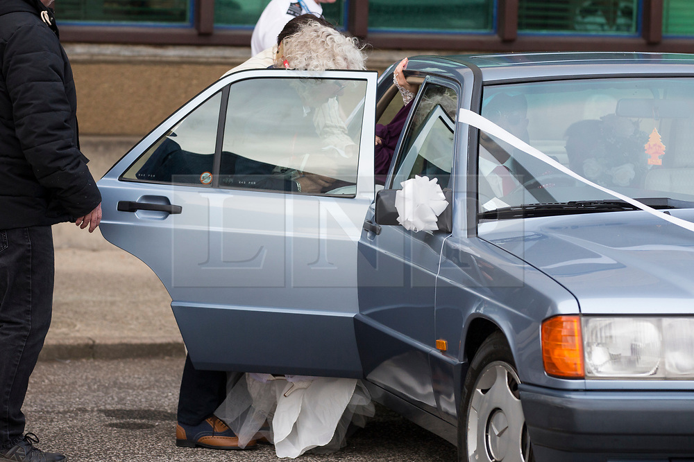 © Licensed to London News Pictures. 14/11/2017. Wakefield UK. Ex Coronation Street actress Paula Williamson arrives at Wakefield prison today covered with a purple blanket to marry Britons most violent prisoner Charles Bronson. Photo credit: Andrew McCaren/LNP
