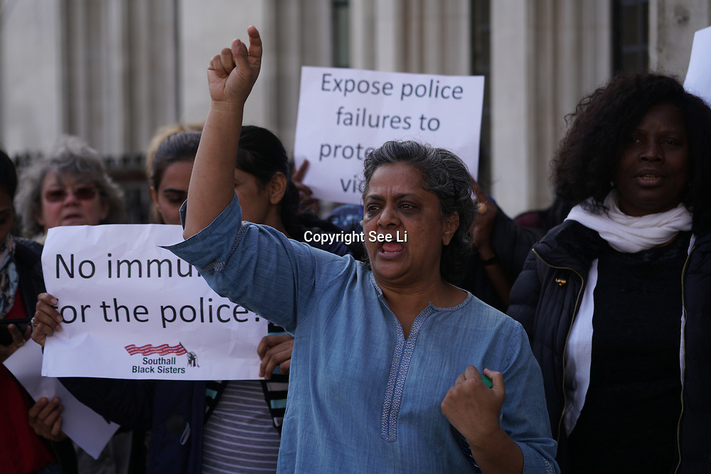 Supreme Court, London, UK. 13th Mar 2017. Southhall Black Sisters demonstration outside Supreme Court will begin hearing 'Worboys' case concerning two victims of a serial rapist who were seriously let down by a catastrophic litany of failures in the police's investigation into their reports of rape, London,Uk. by See Li