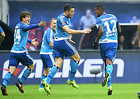 0:2 Jubel v.l. Gotoku Sakai, Kyriakos Papadopoulos, Torschuetze Walace (HSV)<br /> <br /> Leipzig, 11.02.2017, Fussball Bundesliga, RB Leipzig - Hamburger SV 0:3<br /> <br /> Norway only