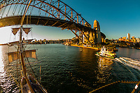 "View of the Sydney Harbour Bridge from the mast of the tall ship ""Southern Swan"", Sydney, New South Wales, Australia"