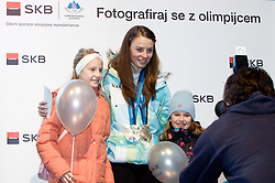 Slovenian 2-times silver medalist alpine skier Tina Maze with fans at reception at Preseren's square when she came from Vancouver after Winter Olympic games 2010, on February 28, 2010 in Center of Ljubljana, Slovenia. (Photo by Vid Ponikvar / Sportida)
