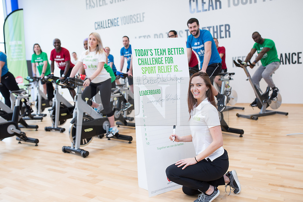 """© Licensed to London News Pictures . 01/03/2016 . Manchester , UK . Hollyoaks actress JENNIFER METCALFE (signing her autograph) launches a national fundraiser , """" The Better Bike Challenge """" from the East Manchester Leisure Centre in Beswick . The Challenge features 10,000 people cycling one-mile , each donating £1 to #TeamBetter for Sport Relief . Photo credit : Joel Goodman/LNP"""