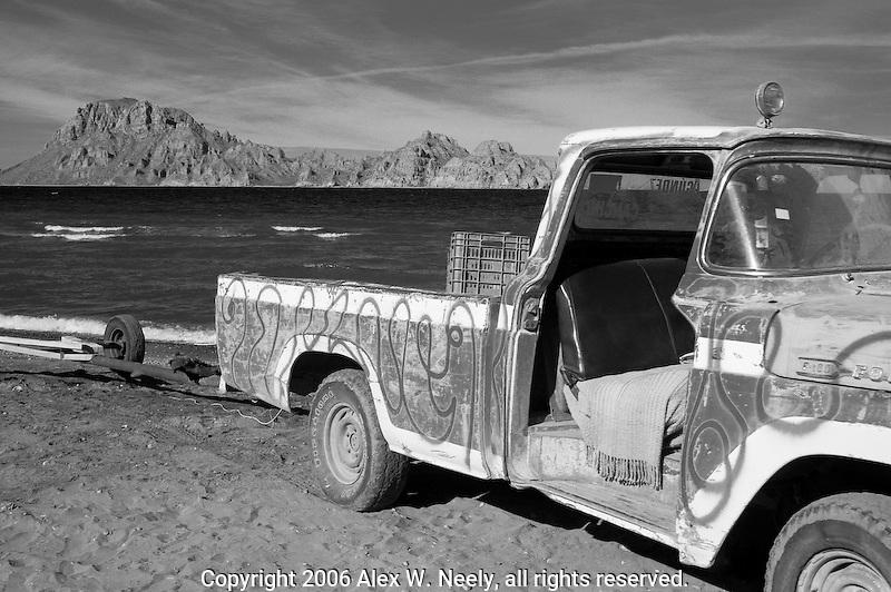 Old truck on a beach south of Loreto, Baja California Sur, Mexico