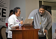 Sharon Lavigne,  head of RISE St. James  and   Rev. Dr. William Barber at a RISE St James rivial tent event.