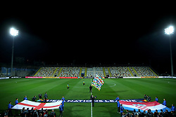 A general view of the pitch as England and Croatia flags are held up during the UEFA Nations League match at Stadion HNK Rijeka in Croatia.