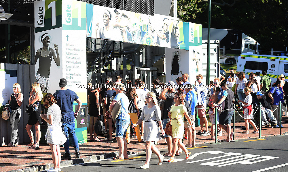 Tennis fans arrive for the night session on Day 2 at the Heineken Open. Festival of Tennis, ATP World Tour. ASB Tennis Centre, Auckland, New Zealand. Tuesday 13 January 2015. Copyright photo: Andrew Cornaga/www.photosport.co.nz