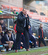 14th April 2018, Tannadice Park, Dundee, Scotland; Scottish Championship football, Dundee United versus Falkirk; Dundee United manager Csaba Laszlo