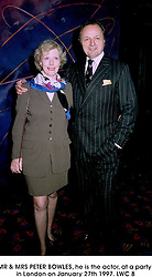 MR & MRS PETER BOWLES, he is the actor, at a party in London on January 27th 1997.LWC 8