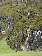 View of Wishbone Falls, Harris Mountains, along the Matukituki River, near Mt. Aspiring National Park and Wanaka, New Zealand