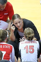 13 September 2011: Melissa Myers talks to Jenny Menendez and Kristin Stauter during a time out during an NCAA volleyball match between the Ramblers of Loyola and the Illinois State Redbirds at Redbird Arena in Normal Illinois.