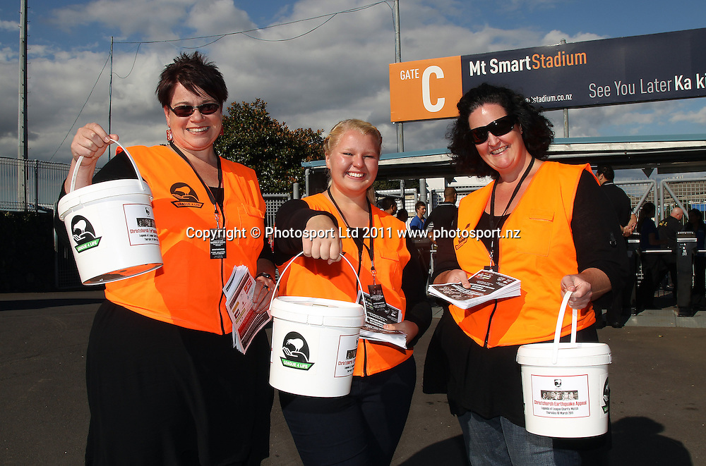 NZRL League for Life collectors at the gate. Australia and New Zealand Legends of League Christchurch Earthquake Appeal Match, Mt Smart Stadium, Auckland, New Zealand, Thursday 10 March 2011. <br />