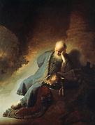 Jeremiah Lamenting the Destruction of Jerusalem', 1630. Oil on canvas. Rembrandt Harmenszoon van Rijn (1606-1669) Dutch painter and etcher. Age Sorrow Religion Judeo-Christian