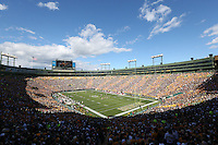 An overall inside view of Lambeau Field during an NFL game between the San Francisco 49ers and the Green Bay Packers, September 9, 2012 in Green Bay, Wis. (AP Photo/Tom Hauck)