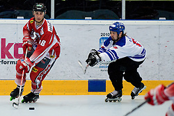 Daniel Oberkofler of Austria and Teemu Virtala of Finland at Game 5 of IIHF In-Line Hockey World Championships Top Division Group match between National teams of Finland and Austria on June 29, 2010, in Karlstad, Sweden. (Photo by Matic Klansek Velej / Sportida)