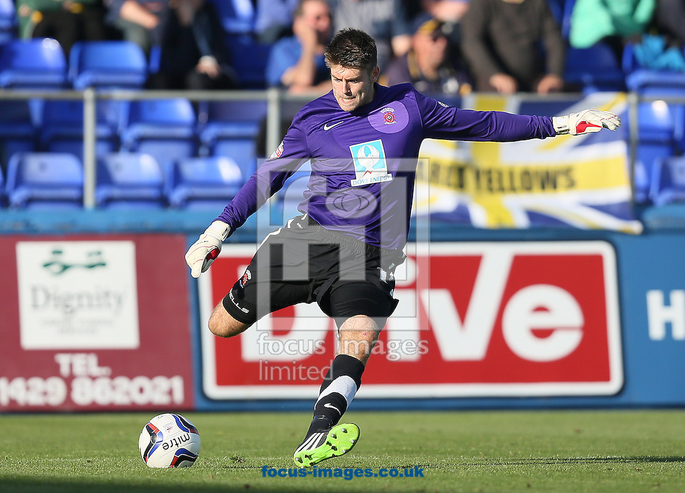 Picture by Paul Gaythorpe/Focus Images Ltd +447771 871632<br /> 28/09/2013<br /> Hartlepool United goalkeeper Scott Flinders during the Sky Bet League 2 match against Oxford United at Victoria Park, Hartlepool.